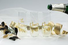 Personalized champagne glass/custom champagne glass/custom wine glass/personalized champagne glass/bride champagne glass/bachelorette glass by CatePaperCo on Etsy https://www.etsy.com/listing/491980158/personalized-champagne-glasscustom