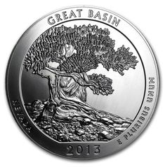 USA - The 18th coin of the United States America the Beautiful Silver Bullion Coin™ Program features Great Basin National Park in Nevada. Each America the Beautiful coin contains 5 oz of .999 fine Silver.