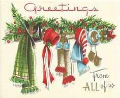 I love old Christmas greetings. Images Vintage, Vintage Christmas Images, Old Christmas, Old Fashioned Christmas, Retro Christmas, Vintage Holiday, Christmas Pictures, Christmas Holidays, Christmas Crafts