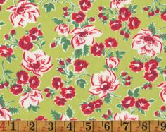 Vintage Feedsack Fabric - Red Roses and Apple Blossoms on Lime Green - Flour Sack Quilting Cotton