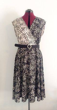 1970's Beautiful Black and White Bamboo Print  Summer Dress on Etsy, $24.00