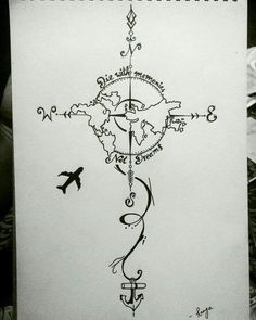 28 Ideas For Travel Drawing Compass Tattoo Designs Tattoo Drawings, Body Art Tattoos, Art Drawings, Map Tattoos, Tatoos, Tattoos Skull, Tattoo Sketches, Tattoo Style, Diy Tattoo