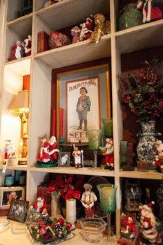 Christmas Bookcase High Light A Santa Collection Show Me Decorating Shows You