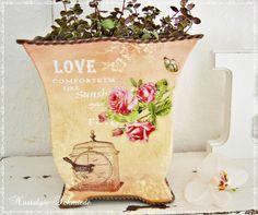 Blumentopf romantisch von Nostalgie-Schmiede auf DaWanda.com