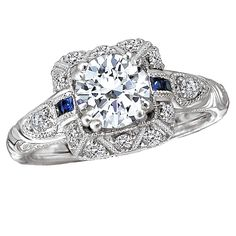 Romance ring with sapphires and engraving.  Definitely one of our favorites from Kim's vintage ring line!!