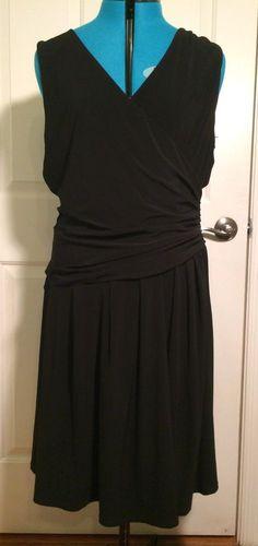 $15.00 + Free Shipping Essentials By A.B.S. Black Wrap Dress Size 16 #EssentialsbyABS #WrapDress #Formal