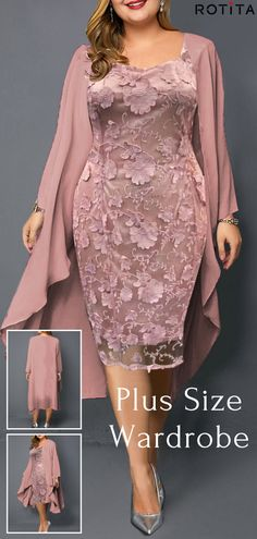 Plus Size Pink Chiffon Cardigan and Sheath Dress Celebrate the., Plus Size Pink Chiffon Cardigan and Sheath Dress Celebrate the day of love in a romantic dress with a flower print . Shop now at mod. Chiffon Cardigan, Chiffon Dress, Social Dresses, Dress Plus Size, Wedding Dress Shopping, Pink Outfits, Heels Outfits, African Fashion Dresses, Groom Dress