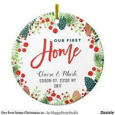Our first home Christmas ornament Personalized with your own name, year and address! Our First Christmas Ornament, First Christmas Photos, Photo Ornaments, Personalized Christmas Ornaments, 1st Christmas, Christmas Tree Decorations, Xmas, Simple Elegant Wedding, White Elephant Gifts