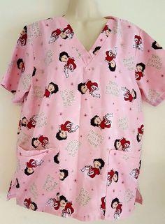 e16e5a72ce6 Details about New Women's Fashion Nursing Betty Boop Scrub Top Blue Pink  Hearts Size Medium