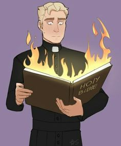 The Holy Bible on fire is a metaphor for the Internet starting flame wars about the Cult ending.and Joseph is me XD Dream Daddy Game, Dream Daddy Fanart, Character Concept, Character Design, I Love My Dad, My Daddy, Manga, Joseph, Aurora Sleeping Beauty