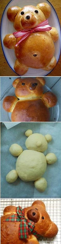 Learn How To Make A Teddy Bear Bread (bread dip recipes) Cute Food, Good Food, Yummy Food, Bread Recipes, Cooking Recipes, Fun Recipes, Bread Shaping, Bread And Pastries, Food Decoration