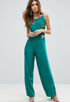 ASOS Teal Jumpsuit with Bird Embroidery £48 | ASOS Fashion And Beauty Feed
