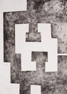 """Eduardo Chillida Grabado al Aguafuerte """"La Nuit""""  1995  64 x 46.5 cm (a sangre)  Tirada de 80 Ejemplares  Numerado y firmado a mano  Enmarcad"""