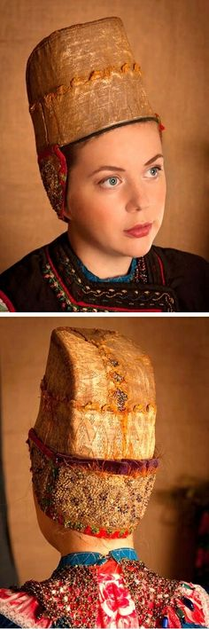 "Festive headdress ""Kokoshnik"" of a peasant woman from Eryshovka village, Voronezh Province, Russia. Early 20th century."