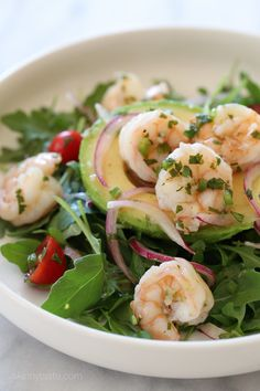 Shrimp Ceviche and Avocado Salad. Chilled shrimp ceviche served in an avocado half over a bed of arugula – a light, refreshing salad that tastes so good, and. Shrimp Ceviche, Shrimp Salads, Prawn Salad, Shrimp Avocado, Arugula Salad, Grilled Shrimp, Tuna Salad, Healthy Recipes, Salad Recipes