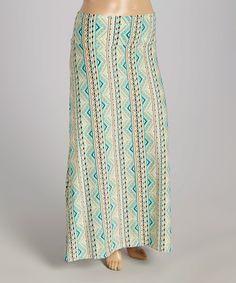 Loving this Aqua Stripe Maxi Skirt - Plus on #zulily! #zulilyfinds