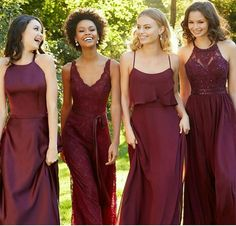 Shop Morilee's One Shoulder Draped Chiffon Morilee Bridesmaid Dress. Bridesmaid Dresses and Gowns by Morilee designed by Madeline Gardner. Asymmetrically Ruched and Draped Chiffon Bridesmaid Dress. Pinterest Bridesmaid Dresses, Bridesmaid Dresses Marsala, Different Bridesmaid Dresses, Different Dresses, Wedding Bridesmaids, Wedding Dresses, Bridesmaid Inspiration, Burgundy Wedding, Marie