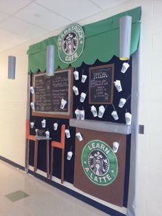 In second grade we learn a latte! With a giant Starbucks cup and Starbucks logo laminated! Second grade bulletin board in front of class love it. Middle School Classroom, Classroom Door, Classroom Setup, Classroom Design, Classroom Displays, Classroom Organization, Highschool Classroom Decor, Classroom Arrangement, School Displays