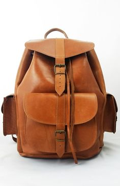 Handmade Tobacco Color Leather Backpack Leather by Leatherhood