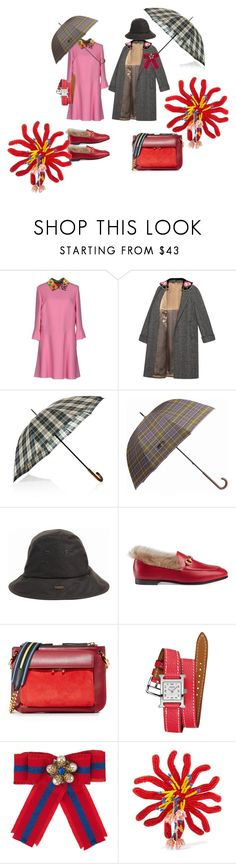 """Rainy Day, Happy Day"" by kit92 ❤ liked on Polyvore featuring Valentino, Gucci, Barbour, Marni, Hermès and Etro"