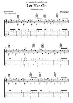 Let Her Go - chords and lyrics by Passenger includes correct guitar tab. Ukulele, Guitar Tabs Acoustic, Easy Guitar Tabs, Guitar Chords Beginner, Guitar For Beginners, Simple Guitar, Uke Tabs, Great Guitar Songs, Guitar Chords For Songs