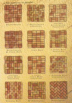 Brick patterns- inspiration for wine cork trivet patterns Mehr Brick Tiles, Brick Flooring, Patio Flooring, White Flooring, Modern Flooring, Brick Paver Patio, Paver Walkway, Red Brick Pavers, Small Brick Patio