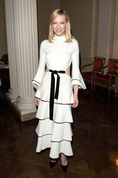 Cate Blanchett opted for a Proenza Schouler dress and Giuseppe Zanotti pumps for the The Academy Of Motion Pictures Arts & Sciences New Members Reception in London.