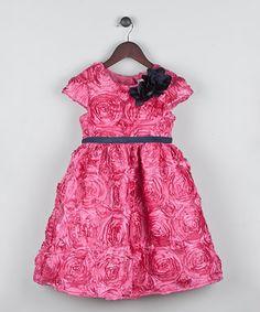 Fuchsia Rosette Satin Cap-Sleeve Dress - Toddler & Girls