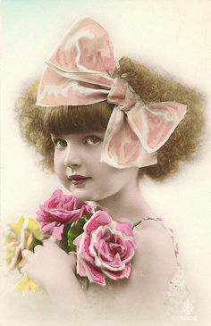 vintage postcard girl with roses & bow