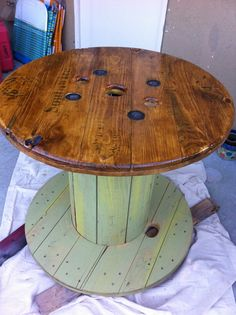 Wooden Wire spool table. Turned out Awesome!