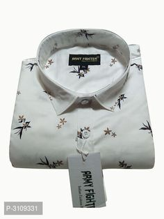 Men's White Cotton Printed Long Sleeves Regular Fit Casual Shirt by Trendys shop - Online shopping for Casual Shirts on MyShopPrime - PGMQQQ Stylish Shirts, Casual Shirts, Textile Prints, Textiles, All Fashion, White Cotton, Menswear, Printed, Long Sleeve