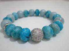 Pulsera de Aguamarina y Agata azul,piedras semipreciosas de Lenajoyas en Etsy