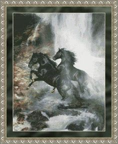Cross Stitch Craze: Cross Stitch Horses and Waterfall