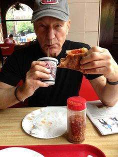 Patrick Stewart enjoying his first slice of pizza EVER! (The man is 72 years old! I couldn't go without pizza for one year!)