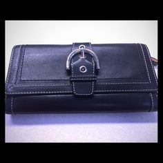 Black Fold Coach Wallet Leather Soho Buckle FS8630 Authentic Black Leather, gently used with checkbook holder. Fast Shipping! No trades. Coach Bags Wallets