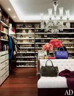 Nancy Gonzalez's Glittering Apartment in Colombia. / closet with insane amount of perfectly organized shoes
