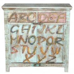 Retro Painted Alphabet Olive Green Sideboard