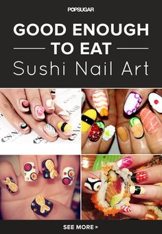13 sushi manicures that will make you want to bite your nails! #nailart #sushi #nails #manicure