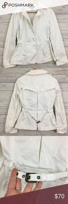 "Just Cavalli white denim peplum flare jacket Great condition, small stain on one sleeve. 20"" armpit to armpit and 24.5"" long Just Cavalli Jackets & Coats"