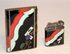 1920 s art deco austrian sterling silver enamel lighter case set in box