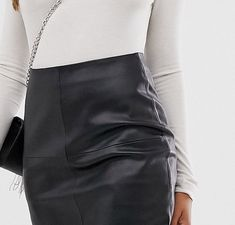 Mango - Jupe fourreau imitation cuir - Noir | ASOS Asos, Skirts, Fashion, Black Leather, Accessories, Moda, Skirt Outfits, Fasion, Skirt