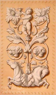 grisaille mural ornament architectural plaster relief by Tim Bizley