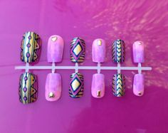 Cute Unique gold and navy blue Tribal and pink and purple Watercolor Tie Dye fake press on nails with gold stud accents