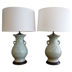 Pair of Chinese crackleware vases, as lamps. | From a unique collection of antique and modern table lamps at https://www.1stdibs.com/furniture/lighting/table-lamps/