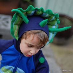 triceratops costume starting from a hooded sweatsuit