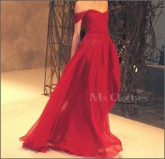Custom Made Chiffon Long Red Prom Dresses Evening by MsClothes, $142.99