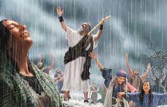 El profeta Elías y otros israelitas se alegran de que esté lloviendo