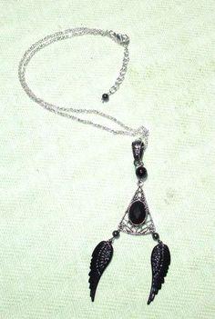 Black Angel Wing Ornate Setting Pendant on Chain