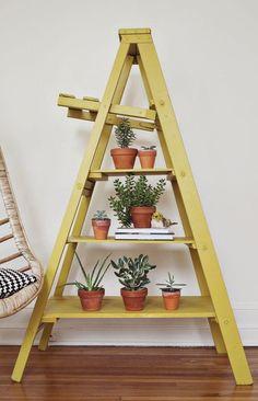 gelb gestrichene Stehleiter als Pflanzenständer