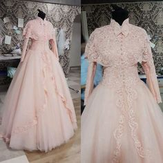 Vintage High Neck Long Sleeve with Cape Lace Appliques Beads Pink Ball Gown Muslim Wedding Dresses 2015 FX544, $173.83 | DHgate.com